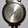 10in engraved silvered dial mercury wheel barometer, scroll top, convex glass, unsigned. c.1860